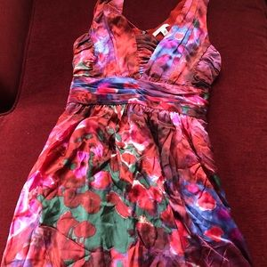 Silk watercolor floral dress red Banana Republic 6